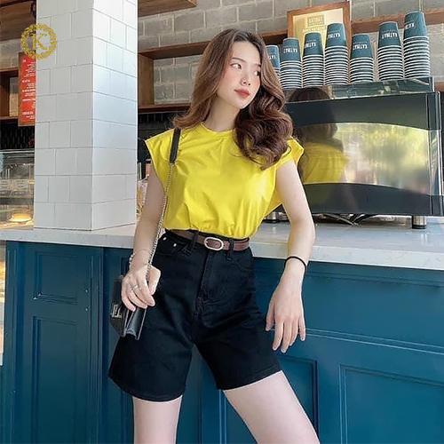quần ngố jean nữ ống rộng màu đen