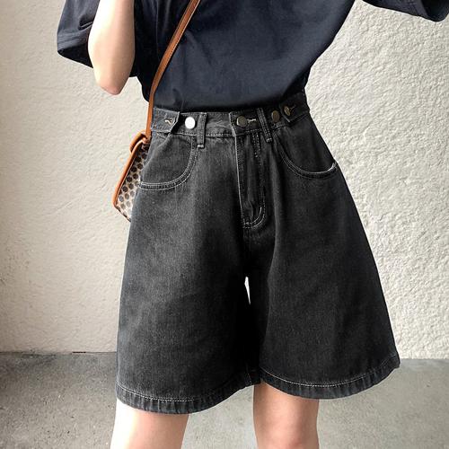 quần short jean nữ ống rộng màu đen bigsize